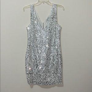Glam white & silver leopard mini dress